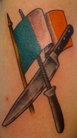 Irish Flag, Chef Knife Tattoo