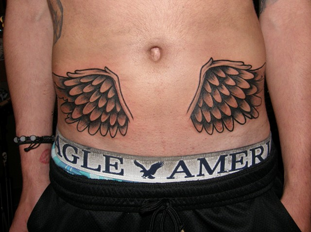 Stomach Wings Tattoo