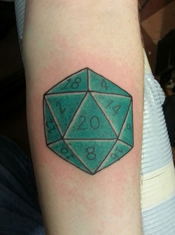 20 sided Die / Dice Tattoo