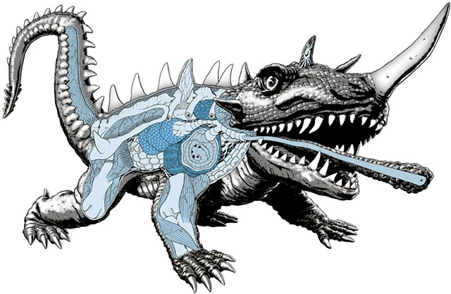 Barugon Gamera kaiju anatomy