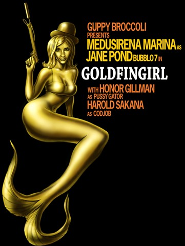 Goldfingirl Goldfinger parody for Medusirena Marina t-shirt