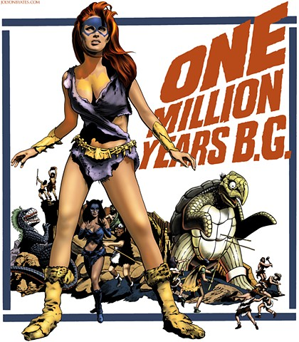One Million BG parody of One Million BC Raquel Welch poster by Tom Chantrell
