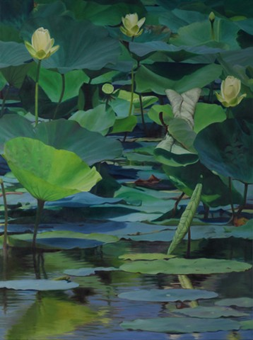 """Lotus at Shelby Farms, 2012, Oil on canvas, 40"""" x 30"""""""