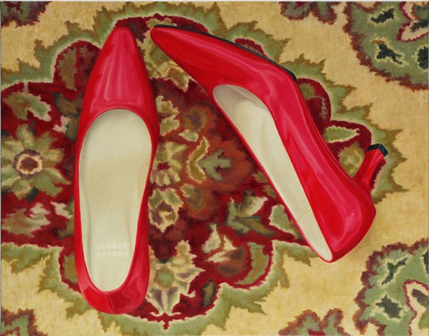"Red Shoes, 2012, Oil on canvas, 22"" x 28"""