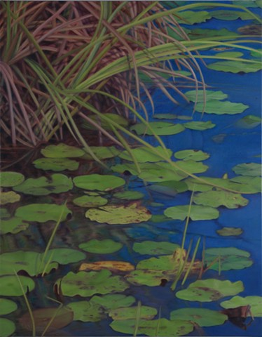 "Water Lilies on Western Lake, 2011, Oil on canvas, 28"" x 22"""