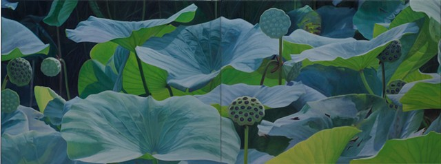 """Lotus Seed Pods, 2012, Oil on 2 canvases, 18"""" x 48"""""""