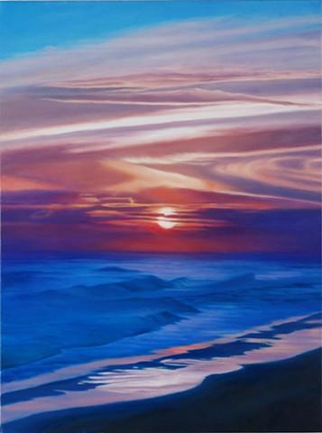 "Gulf Sunset, 2010, Oil on canvas, 24"" x 18"""