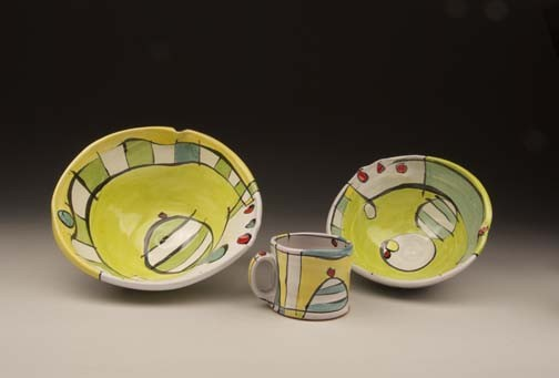 bowls,mug, jim koudelka, decorated, earthenware, functional