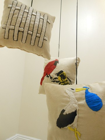 art, soft sculpture, mobile, calder, domestic, myth, primary, white picket fence, stork, birds and bees