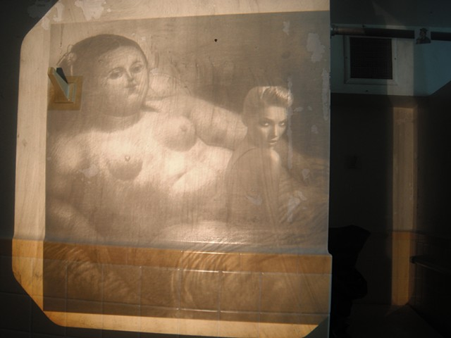 Art site-specific installation women's bathroom overhead projector collaged found images Botero advertisement concept beauty self-esteem  by Jenna Knoblach