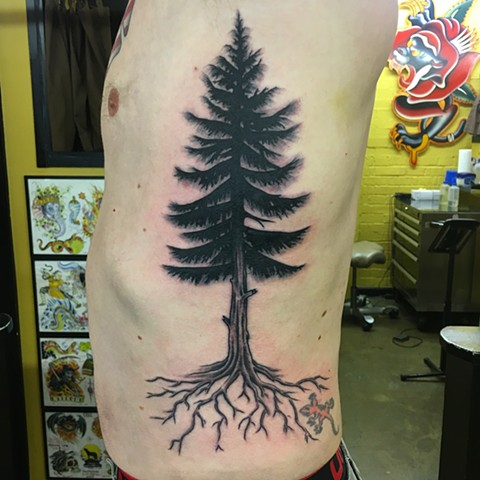 evergreen tree tattoo, Tad Peyton tattoo, Jinx Proof Tattoo, Washington D.C. tattoo
