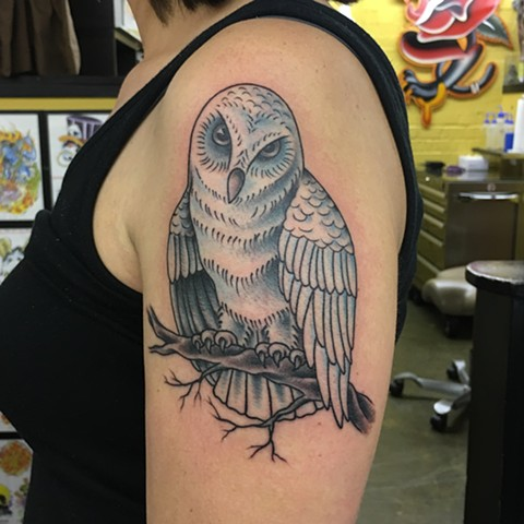 days of the white owl, nerve agents, white owl tattoo, Tad Peyton tattoo, Jinx Proof Tattoo