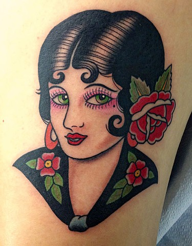 Chris Conn pin-up girl tattoo flash