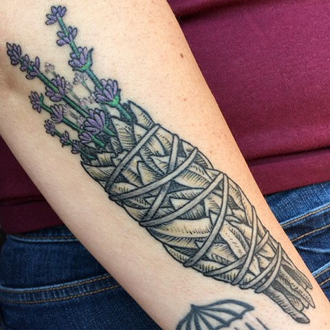 sage smudge tattoo, sage tattoo, Tad Peyton tattoo, Jinx Proof Tattoo, Washington D.C. tattoo