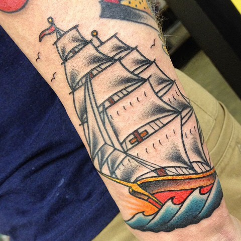 sailor jerry clipper ship tattoo
