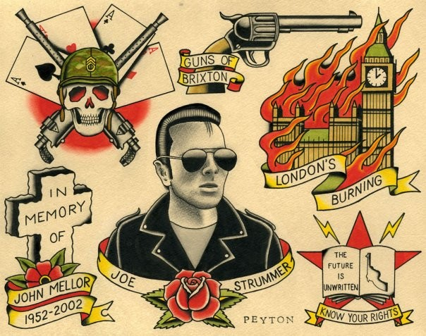 Joe Strummer Clash tattoo flash