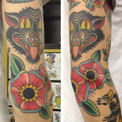 traditional flower elbow tattoo tad peyton