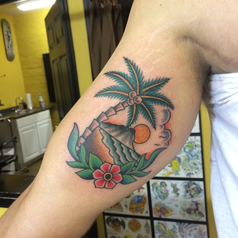 island paradise tattoo, out on an island tattoo