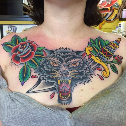 wolf dagger roses tattoo cover-up chest piece tad peyton