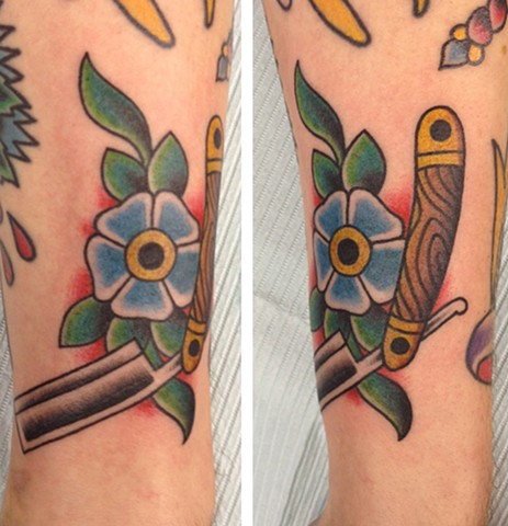 straight razor tattoo, Tad Peyton