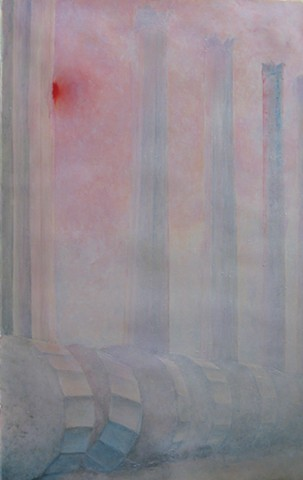 Fallen Marble columns, standing and fallen, in misty red sunrise, dawn