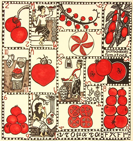 Playing cards with suit of tomatoes, set in the ancient Mediterranean Minoan culture