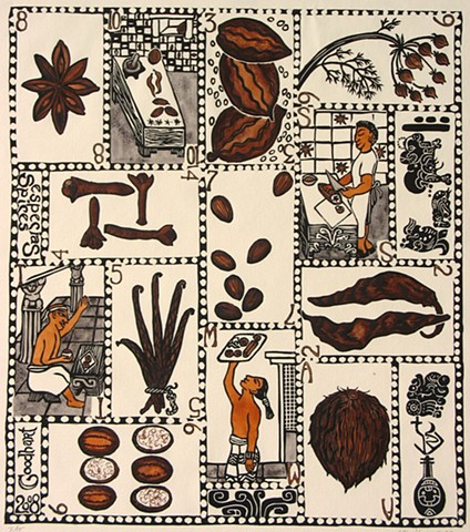 Playing cards, the suit of Spices are set in the New World, with cacao beans and chile peppers