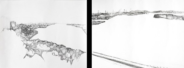 Skylines/Waterlines (Manhattan and Brooklyn), diptych