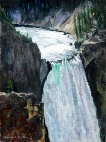 Painting of the lower falls at Yellowstone National Park.
