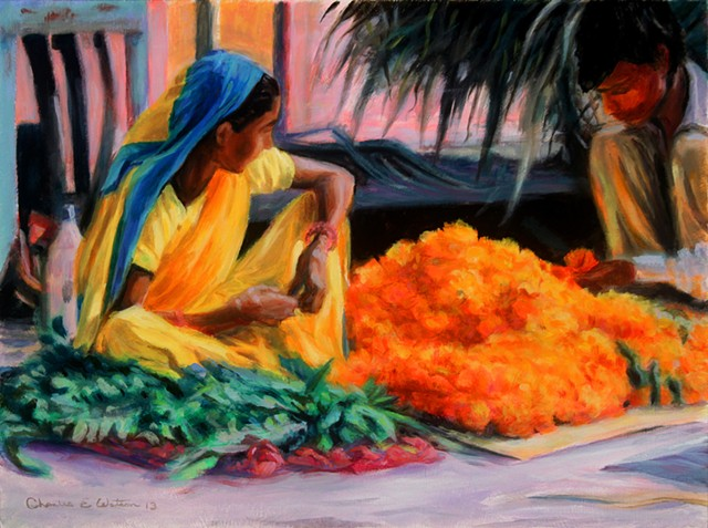 Jaipur India street scene painting of Indians preparing marigolds and other flowers for Diwali celebrations- rich yellow hues.