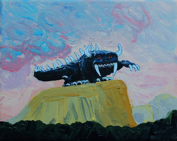 a mixed media acrylic painting of the mythical hodag of northern wisconsin standing on a mesa in the southwest united states with a sunset in the background