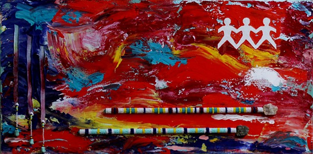 Abstract mixed media acrylic painting by ann laase bailey, primarily red background with paper dolls and spears beaded with seed beads stitched onto canvas