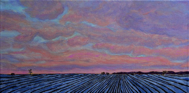 acrylic painting by ann laase bailey of a sunset over a snowy farm field in winter