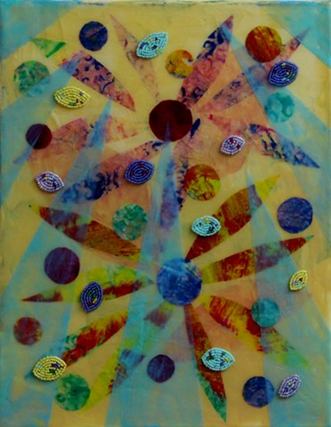 abstract acrylic mixed media painting by ann laase bailey primarily pale yellow and turquoise with stitched seed beads