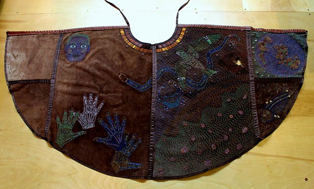beadwork by ann laase bailey leather cape stitched with seed beads and shells