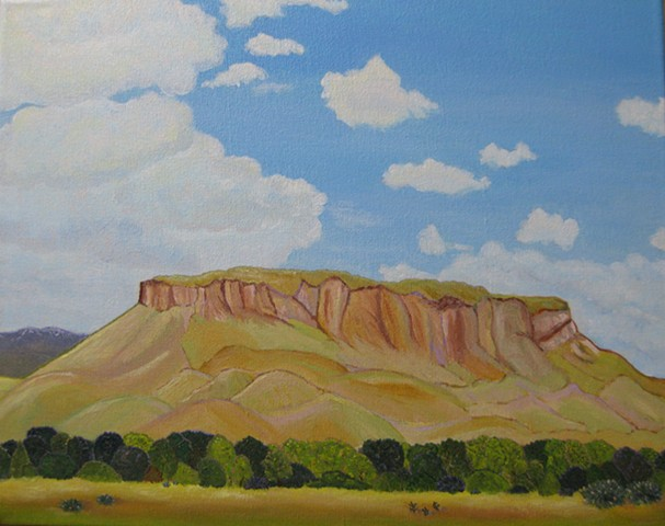 acrylic landscape painting by ann laase bailey of black mesa in new mexico