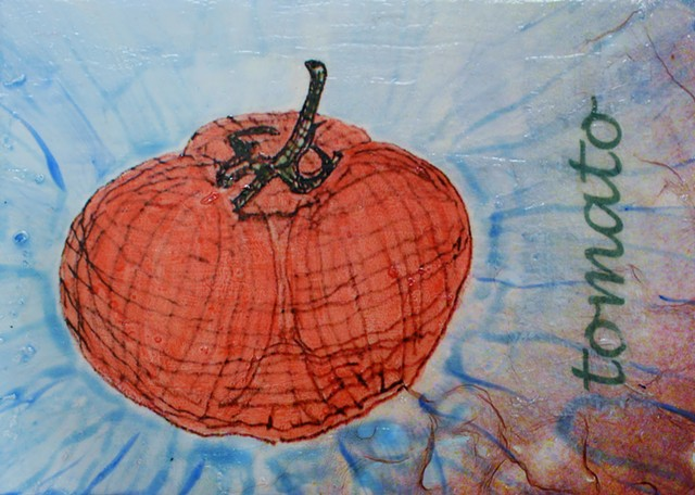 acrylic mixed media painting by ann laase bailey of a tomato