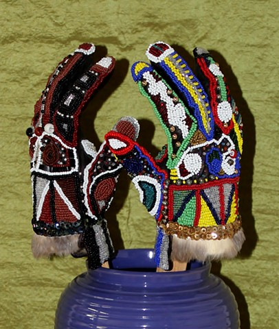 beadwork by ann laase bailey leather gloves covered with seed beads and sequins
