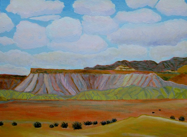 acrylic colorado landscape painting by ann laase bailey of the book cliffs outside of grand junction, co