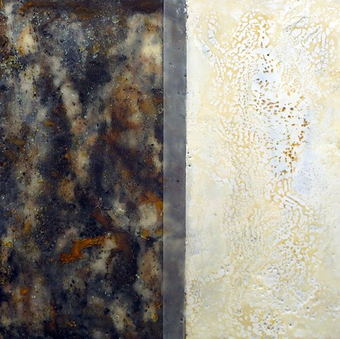 abstract fine art encaustic contemporary painting rust black white