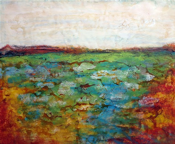 Fine art original landscape encaustic painting jewel color palette