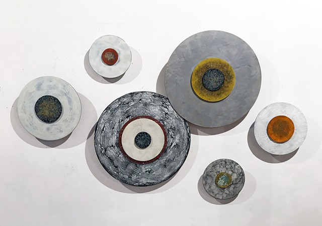Circle wall installation site specific Encaustic dimensional sculpture