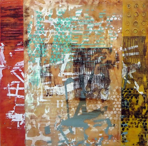 Fine art, Abtract art Encaustic painting and screen printing on wood panel for sale