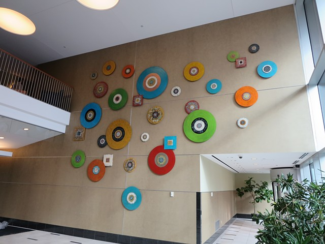Abstract contemporary modern public wall art installation