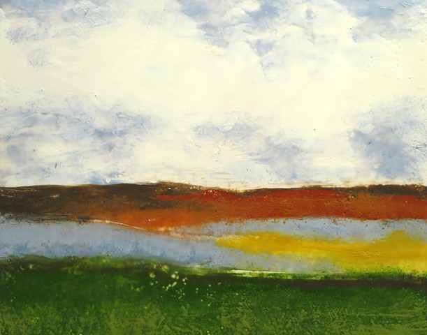 Original fine art landscape using encaustic paint on Greenbord panel