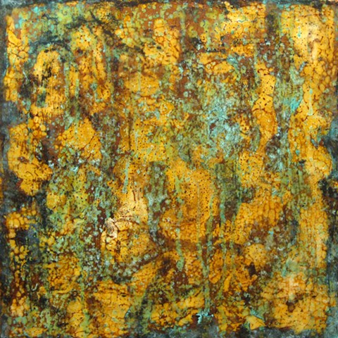fine art original surface abstract patina bronze encaustic