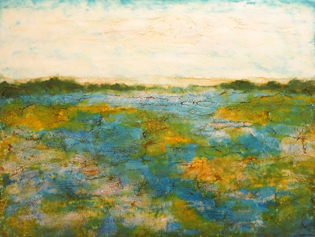 Encaustic landscape contemporary blue yellow green on wood panel