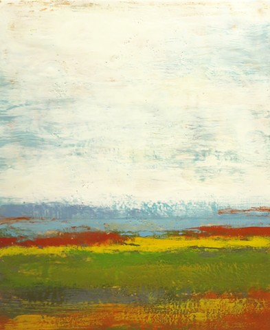 Original fine art landscape using encaustic paint on wood panel