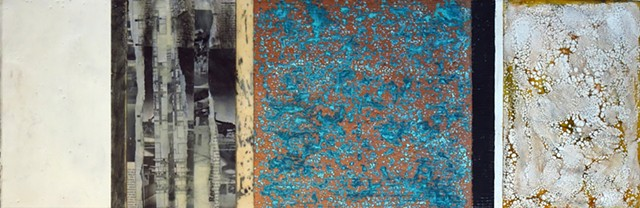 Encaustic, abstract, patina, copper painting, graphite