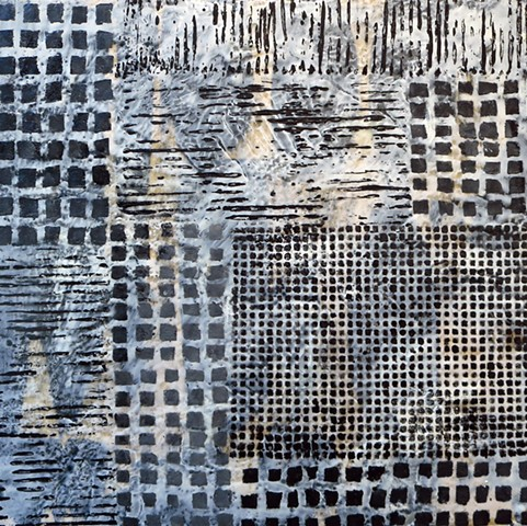 Black and white, abstract, cityscape, encaustic painting on wood
